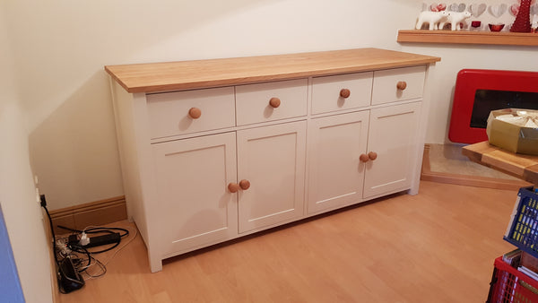 Extra Special Pine Cabinet with 24mm Oak Top, large cupboard and 4 drawers
