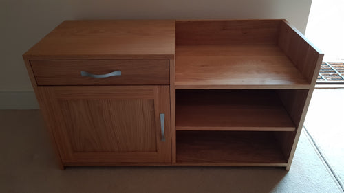 Oak or Pine telephone or hall table with cupboard/drawer and seating area
