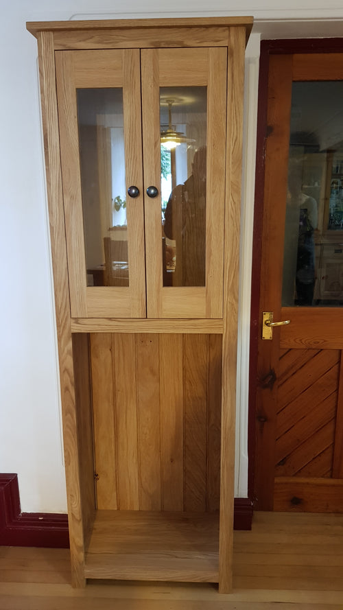 Solid Oak Display or wine cabinet with oak surround glass doors