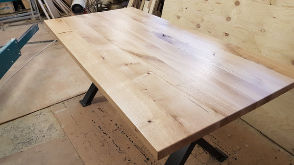Oak kitchen or dining table, metal legs and solid oak rustic top.