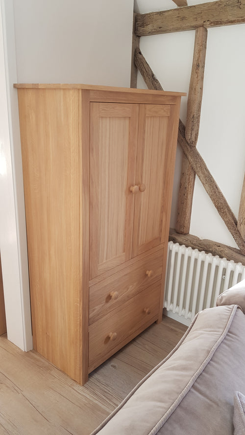 Small White Oak wardrobe/ linen cupboard with bottom drawers in light white Oak finish