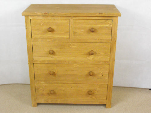 Large Chest of Drawers in Solid Pine with 3 large drawers and 2 small