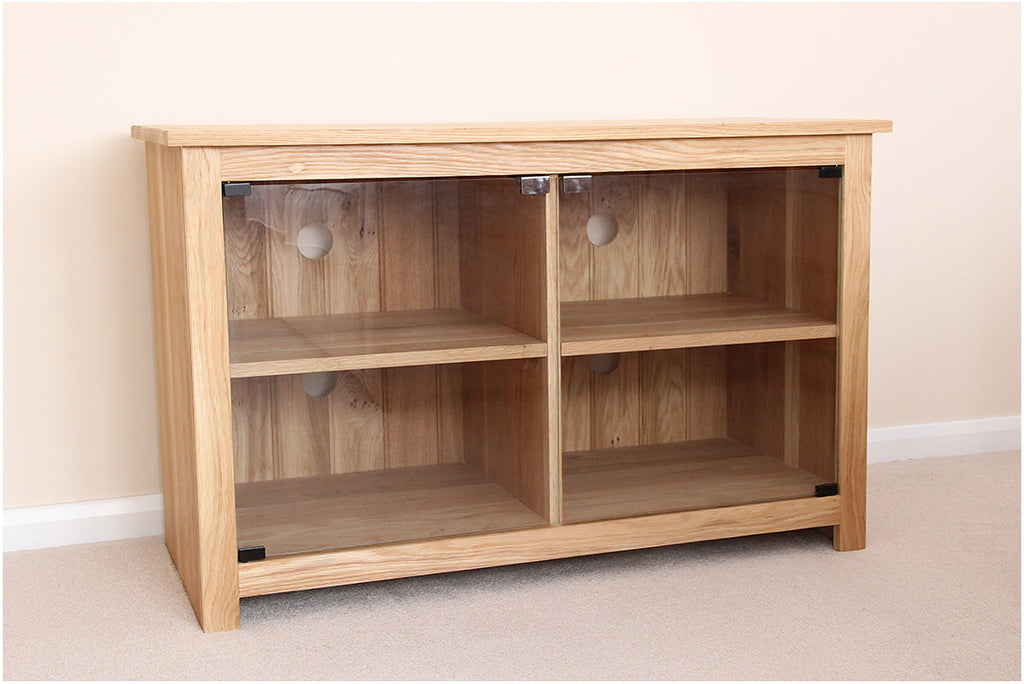 Hifi Tv Unit Cabinet Stand With 4 Sections And Glass Doors