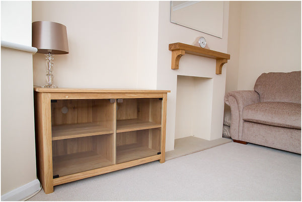 HiFi, TV unit, cabinet, stand with 4 sections and glass doors, 1050mm Solid Oak