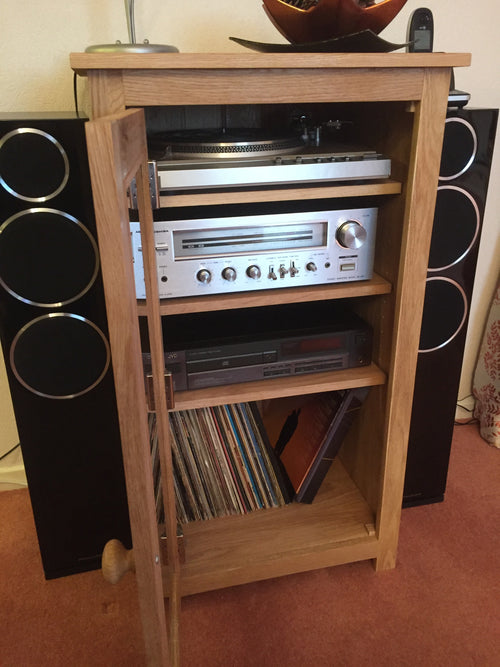 Tall HiFi Unit in Solid Oak with oak surround glass door