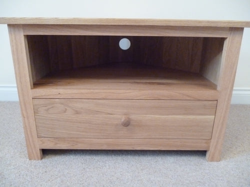 Corner TV unit with bottom drawer, 750, 1000 or 1250mm wide Solid Oak TV Unit, Cabinet , Stand or Hifi unit
