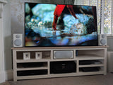 AV or media unit with painted pine base and oak top, flexible media slots.
