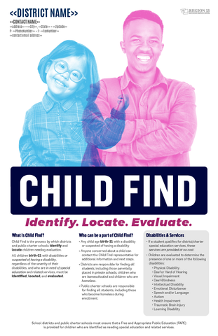Child Find Purpose and District Contact Information Poster - English (Set of 25)