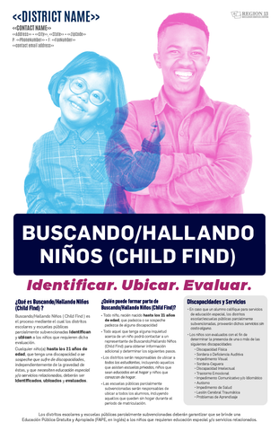 Child Find Purpose and District Contact Information Poster - Spanish (Set of 25)