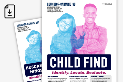 Child Find Purpose and District Contact Information Poster - English and Spanish (Downloadable PDFs)