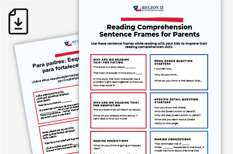 Parent Resource: Reading Comprehension Sentence Frames - English and Spanish (Downloadable PDF)