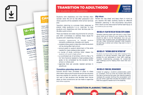 Transition Planning At-A-Glance Series Bundle (Downloadable PDFs)