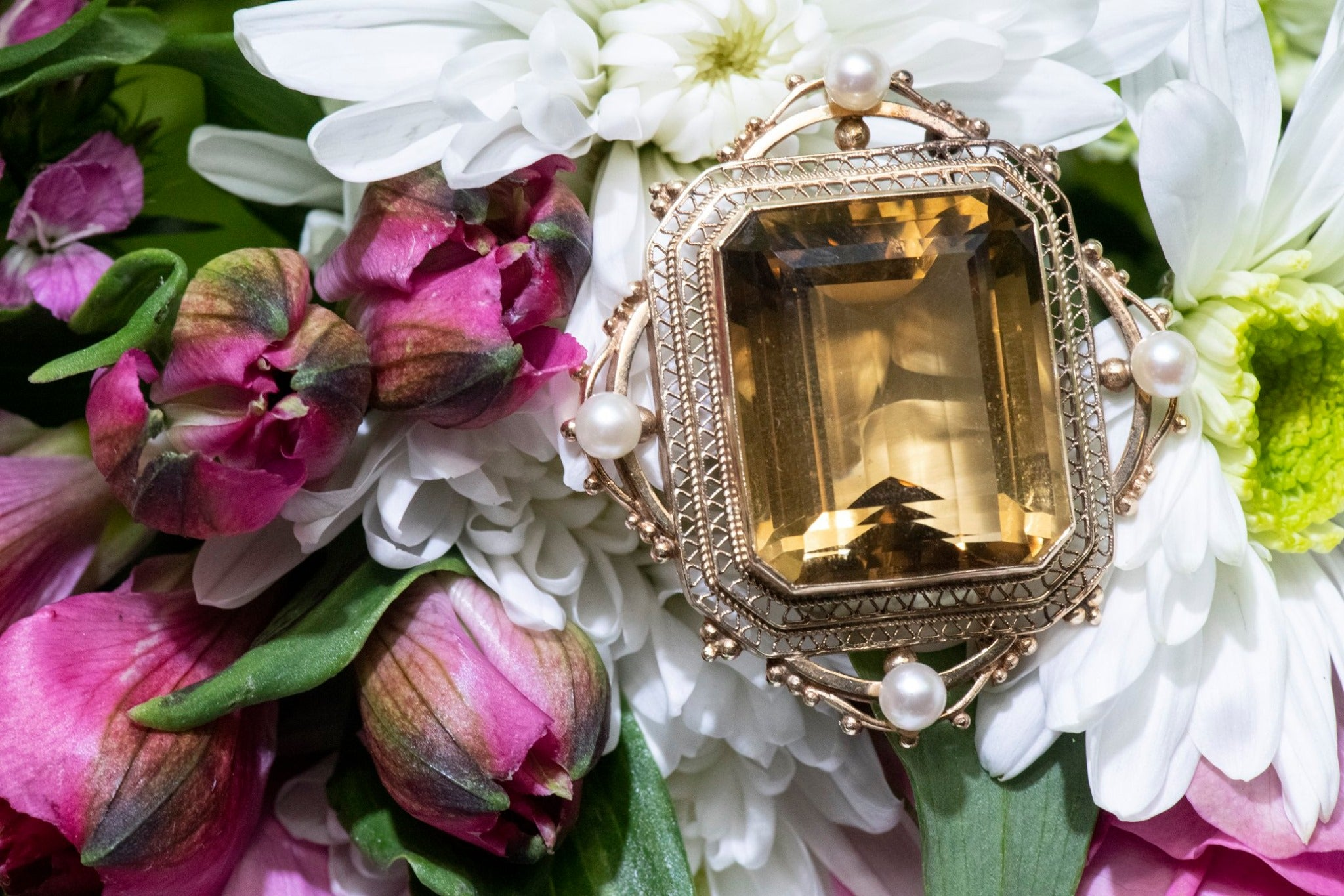 Citrine & Pearl Estate Brooch