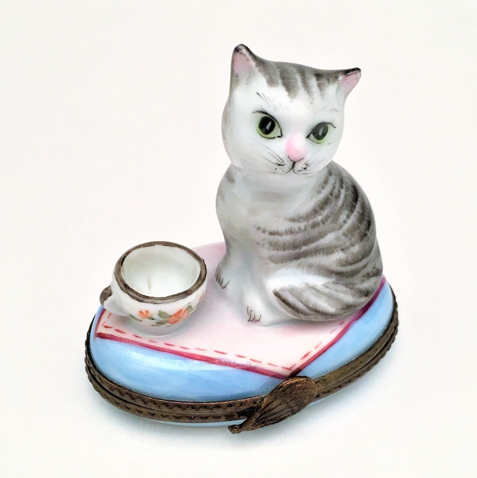 "Retired Cat with Tea Cup of Milk Limoges Trinket Box - Signed ""FA"""