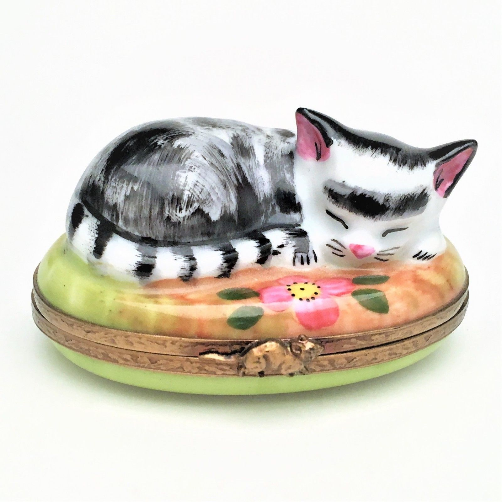 "Retired Cat Napping in Garden Limoges Trinket Box - Signed ""GR"""