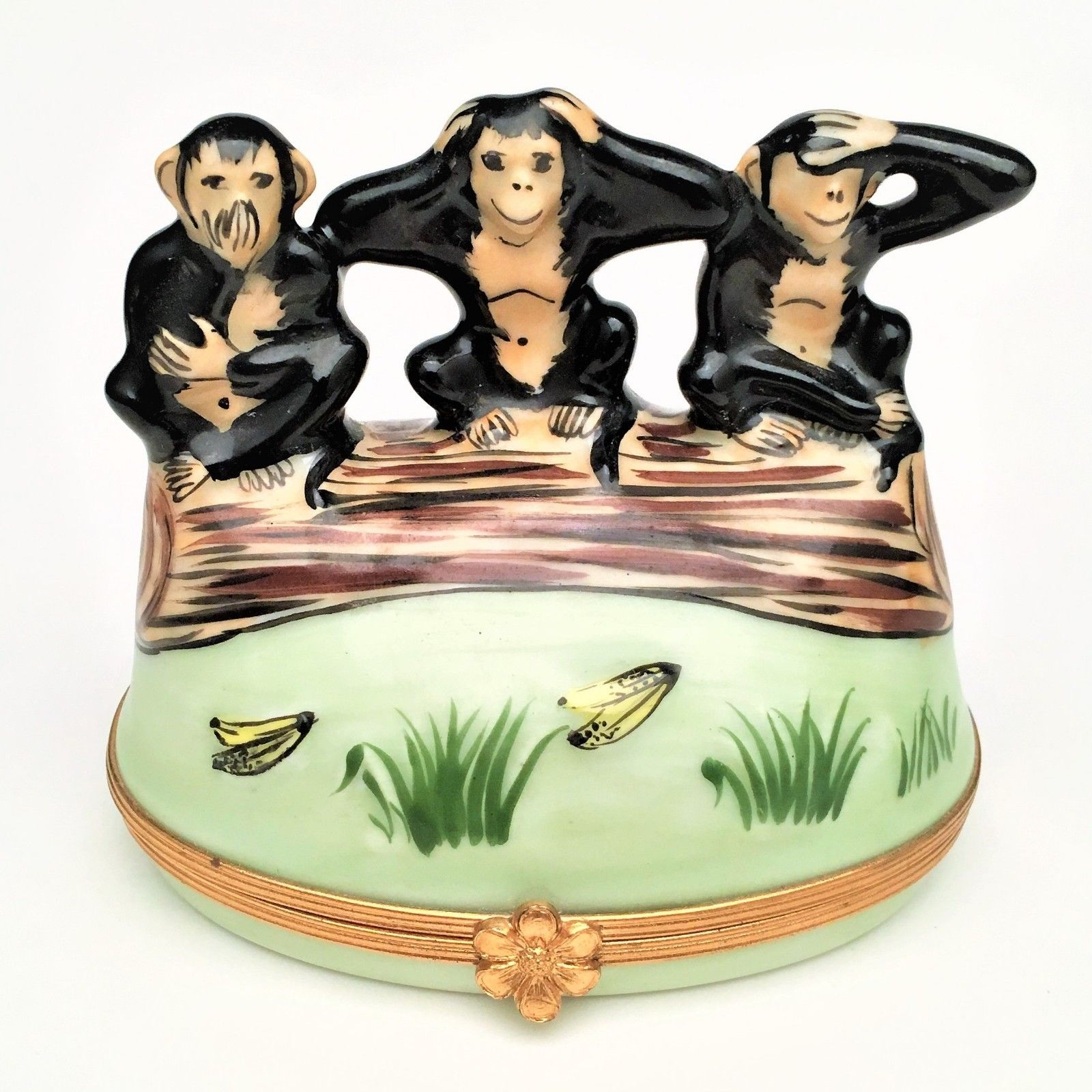 "The Three Wise Monkeys Limoges Box by Artoria - Signed ""JG"" & Numbered #267"