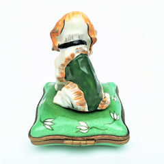 Retired Eximious Limoges Beagle/Hound Hunting Dog Trinket Box