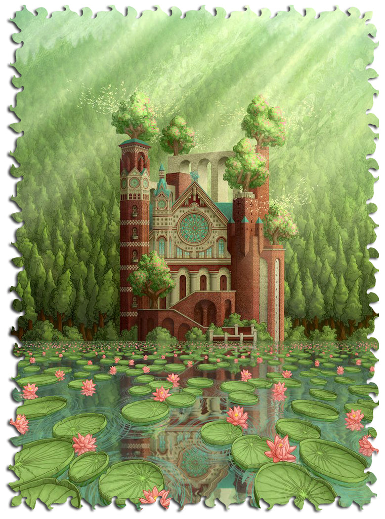 Artifact Puzzles - Aaron Wolf Cathedral of the Tides Wooden Jigsaw Puzzle