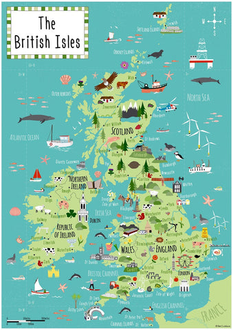 Artifact Puzzles - Bek Cruddace British Isles Map Wooden Jigsaw Puzzle