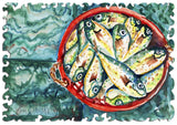 Artifact Puzzles - Kim Haworth Bucket o' Fish Wooden Jigsaw Puzzle