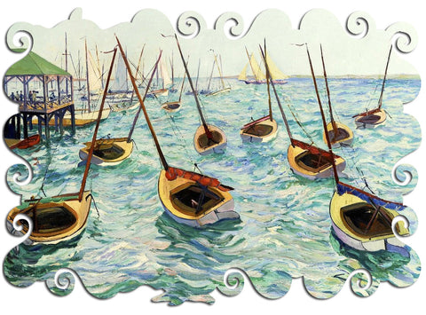 Artifact Puzzles - Hayley Lever Dancing Boats Marblehead Wooden Jigsaw Puzzle