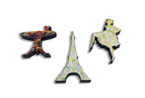 Whimsical Seurat Eiffel Tower Wooden Jigsaw Puzzle