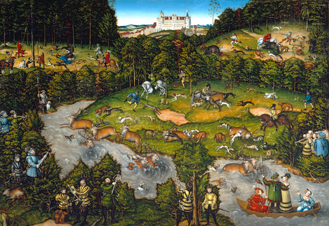 Artifact Puzzles - Lucas Cranach the Elder Hunting at Hartenfels Castle Wooden Jigsaw Puzzle