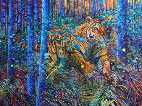 Artifact Puzzles - Iris Scott Tiger Fire Wooden Jigsaw Puzzle