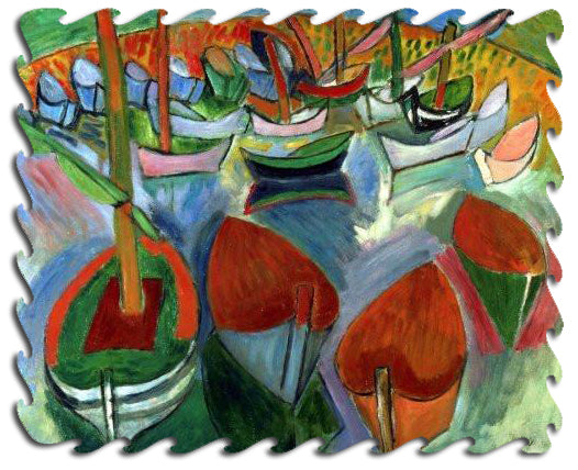Artifact Puzzles - Raoul Dufy Boats Wooden Jigsaw Puzzle