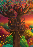 Ecru Puzzles - Aaron Wolf Twilight Treehouse of the Phosphorescent Forest Wooden Jigsaw Puzzle