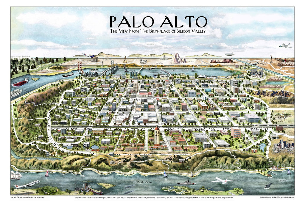 Artifact Puzzles Kirby Scudder Palo Alto Map Wooden Jigsaw Puzzle