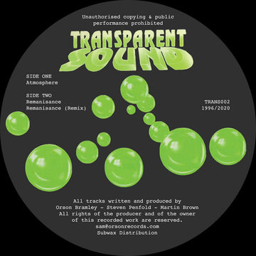 Transparent Sound - Atmosphere/Remanisance (PRE-ORDER)