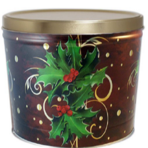 2-Gallon Boughs of Holly Popcorn Tin