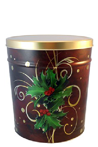 3.5-Gallon Boughs of Holly Popcorn Tin