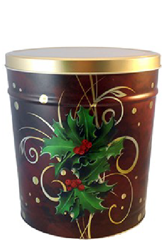 6.5-Gallon Boughs of Holly Popcorn Tin