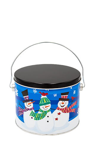 Half-Gallon Whimsical Snowman Tin
