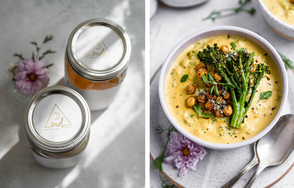 "Broccoli ""Cheddar"" Soup with Roasted Chickpeas"