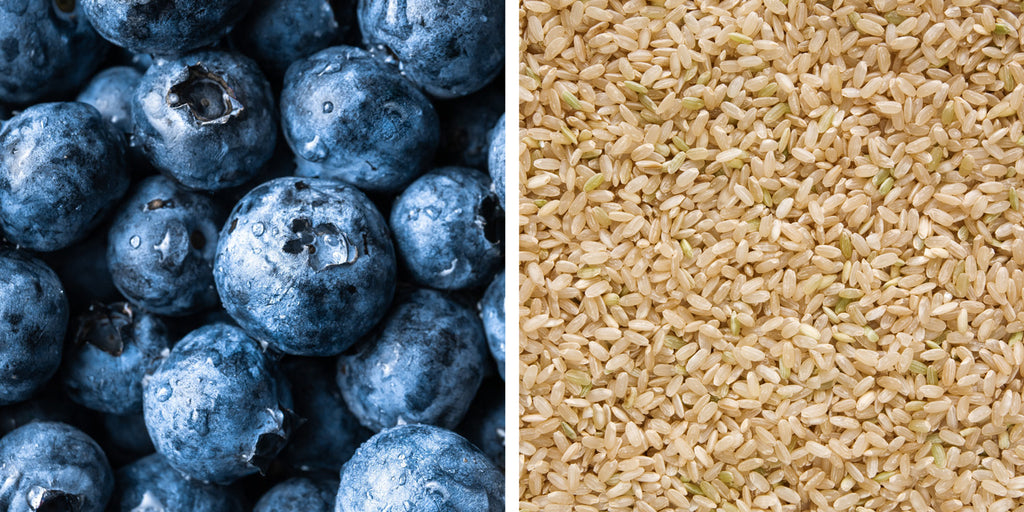 Blueberries and brown rice