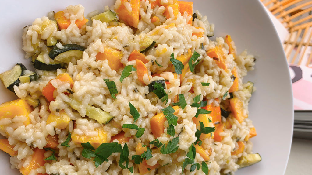 Alexandra Avocado's Roasted Butternut Squash & Zucchini Risotto