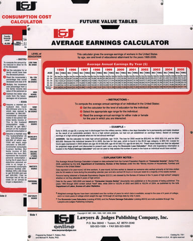 Average Earnings and Consumption Cost Calculator - Lawyers & Judges Publishing Company, Inc.