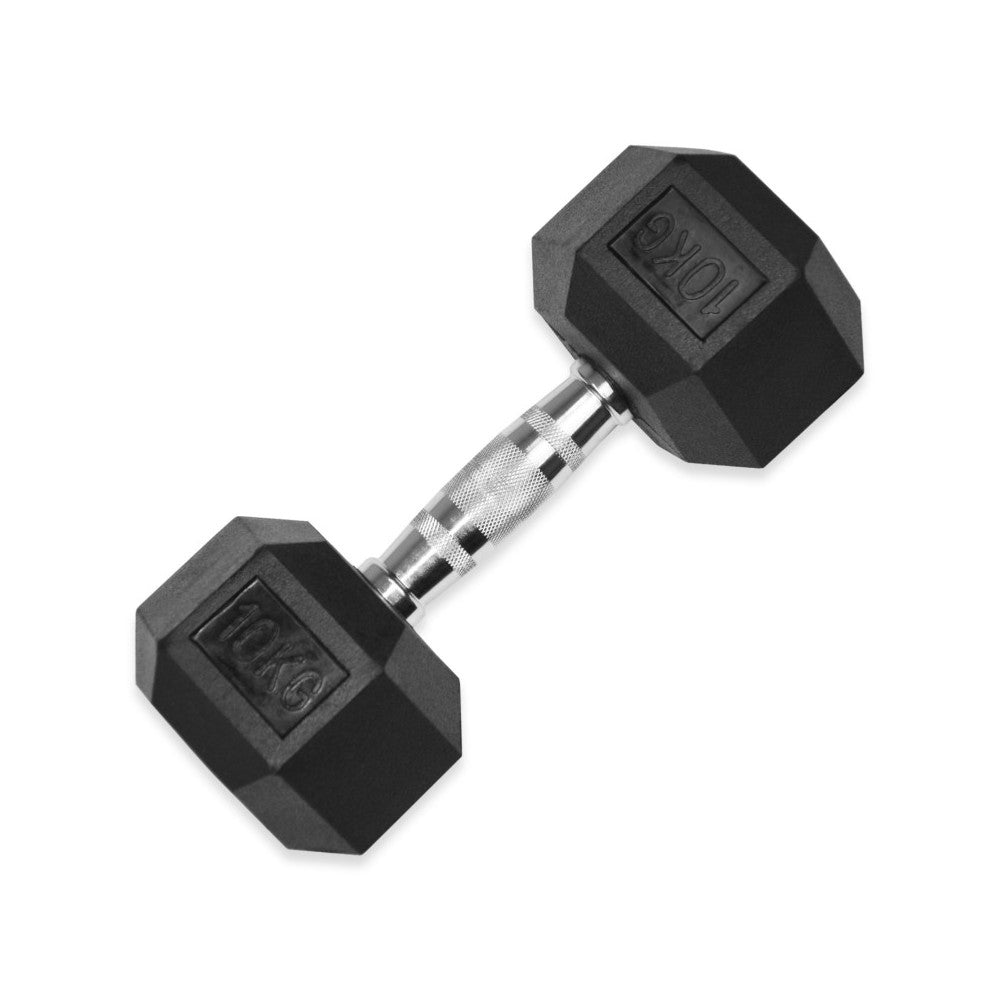 10kg Rubber hex Dumbbell Pair (delivery collection end july start aug)
