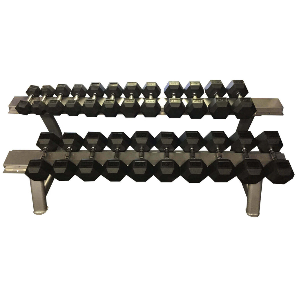 Bodymax 5-30kg Rubber Commercial Dumbbells with Rack