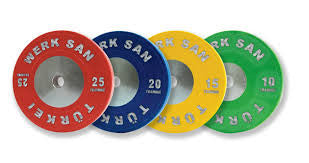 Werk San 150kg Professional Training Plate Set with free olympic bar