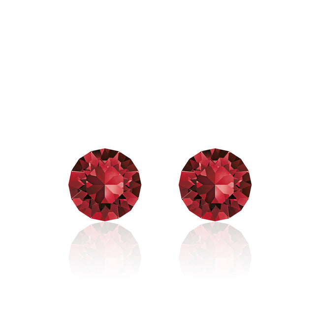 Dark red small round earrings, Wine Ruby Xirius, Swarovski crystals, made in montreal 1088-208