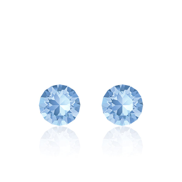 Blue small round earrings, Iris Xirius, Swarovski crystals, made in montreal 1088-211