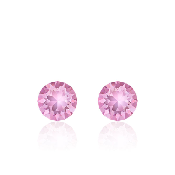 Pink small round earrings, Berry Sorbet Xirius, Swarovski crystals, made in montreal 1088-212