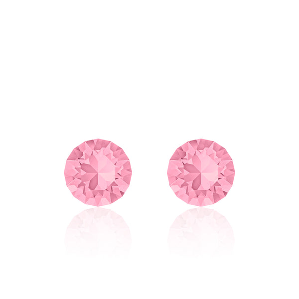 Pink small round earrings, Hibiscus Xirius, Swarovski crystals, made in montreal 1088-223