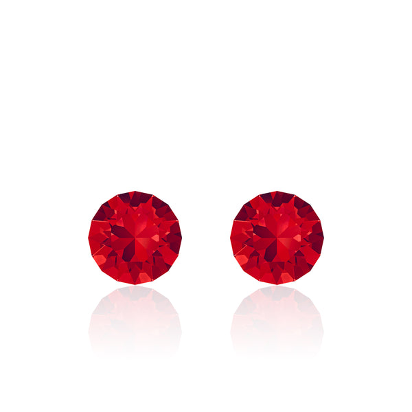 Red small round earrings, Cherry Pie Xirius, Swarovski crystals, made in montreal 1088-227