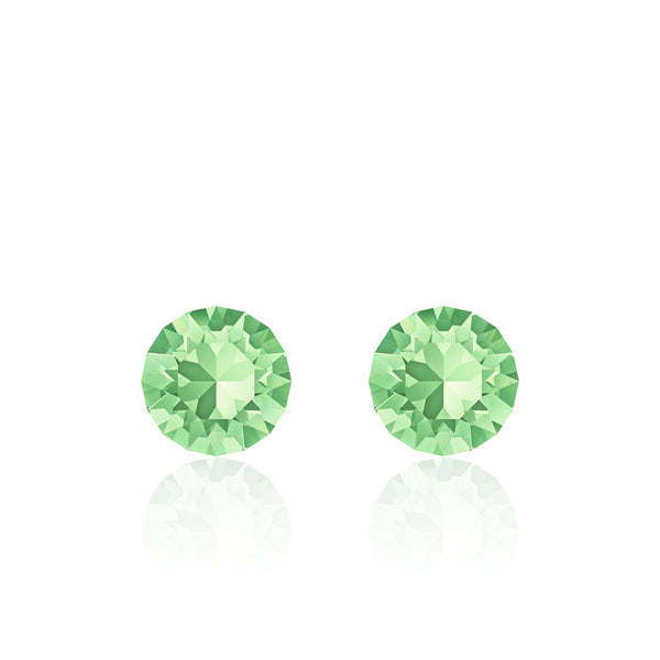 Light green small round earrings, Melon Miel Xirius, Swarovski crystals, made in montreal 1088-238