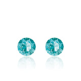 Light blue small round earrings, Aqua Xirius, Swarovski crystals, made in montreal 1088-263